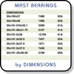 Mast Bearings sorted by Dimensions