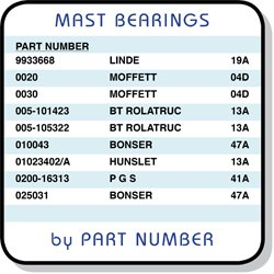 Mast Bearings sorted by Part Number