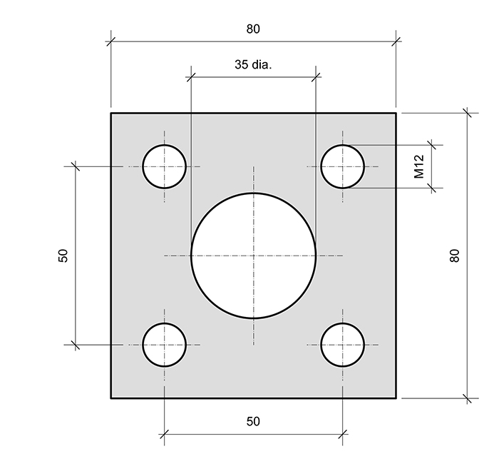 Plate PL1 Square for combined roller bearings