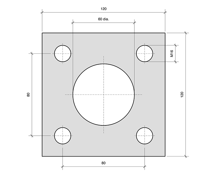 Plate PL4-SQ Square for combined roller bearings
